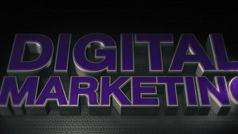 Metal 3D Text Digital marketing with reflection and light Animation