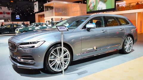 Volvo V90 luxury estate car front view Footage