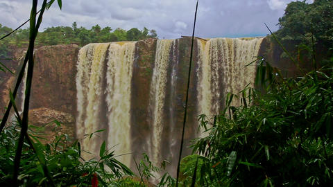 View of Waterfall Elephant among Tropical Forestry Hills Footage