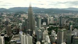 Malaysia Kuala Lumpur 015 Petronas Twin Towers seen from KL Tower Footage