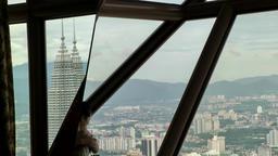 Malaysia Kuala Lumpur 016 windows of KL Tower observation platform Footage