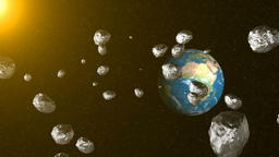 Asteroids in space fly to earth. Space background. 3D rendering フォト