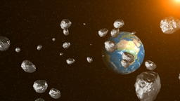 Asteroids in space fly to earth. Space background. 3D rendering Photo