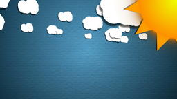 Simple cartoon clouds and sun. Fun background フォト