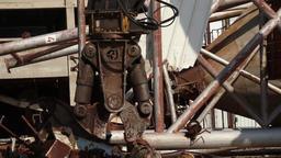 Demolition crane with pulverizer grinder Footage