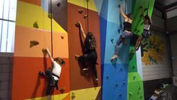 Kids wall climbing at indoor playground editorial Stock Video Footage