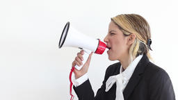 Crazy business woman with loudspeaker Footage
