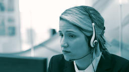 Call centre agent monochromatic color grading Footage