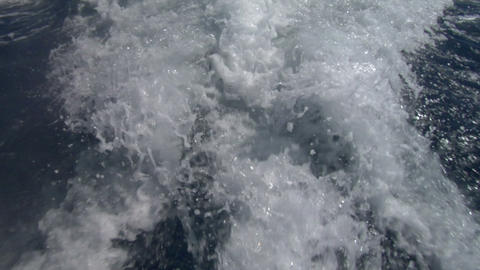 wave boat slow motion 01 Stock Video Footage