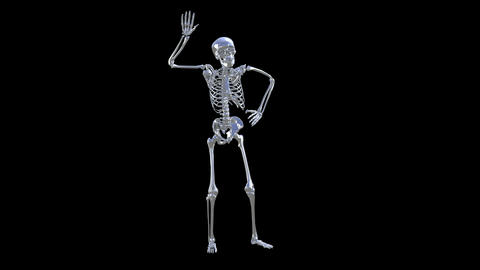 Skeleton Disco Dancing . Chrome - Heaven Blue + Alpha CGI Stock Video Footage