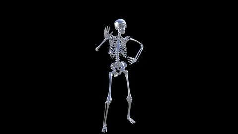Skeleton Disco Dancing . Chrome - Heaven Blue + Alpha CGI Animation