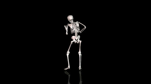 Skeleton Disco Dancing - White- Reflecting Ground - CGI Animation