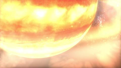 Zoom through Saturn's Atmosphere and Rings to Moon Enceladus Stock Video Footage
