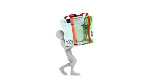 Joe Carrying DOLLAR BAG (HD + Alpha) Stock Video Footage