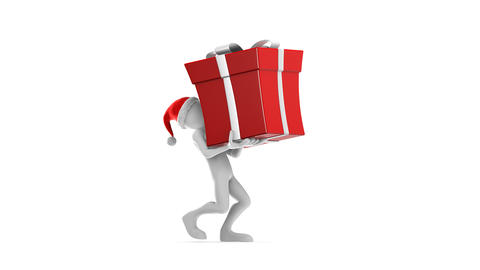 Santa Claus carrying the big red gift Animation