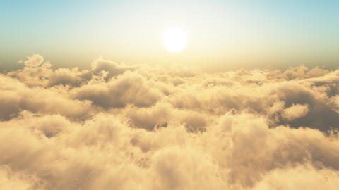 Flying Through The Clouds.Sunrise. Looop Stock Video Footage