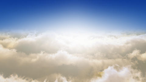 Flying Through The Clouds.Sunrise. Looop Animation
