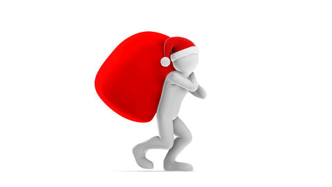 Santa Claus Carrying Bag (HD + Alpha) Stock Video Footage