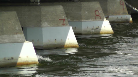 Strong Water Current under Bridge Stock Video Footage