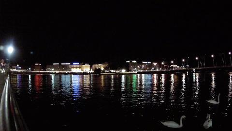geneva lake night Stock Video Footage