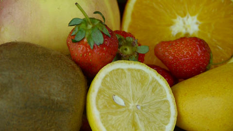 Rotation of delicious fruit plate Stock Video Footage