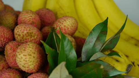 Delicious lychee & banana Stock Video Footage