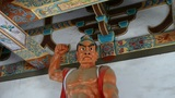 Chinese immortals Buddhist Vajra sculpture in carved beams painted buildings,maj Footage
