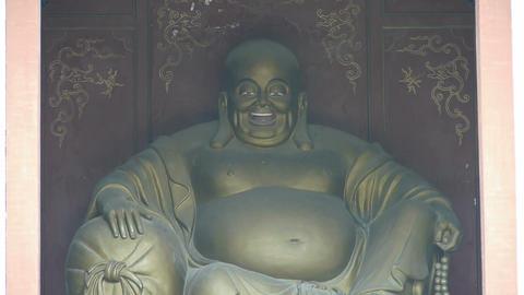 Saw statue of Bodhisattva Maitreya,Enter yard from door... Stock Video Footage