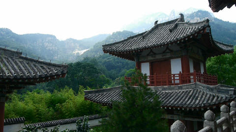 China ancient temple architecture in forest,bamboo... Stock Video Footage