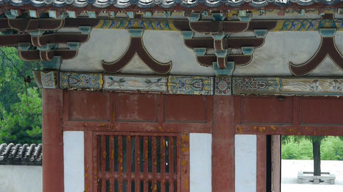 China ancient temple architecture in forest,bamboo mountain hill,carved beams,pa Footage