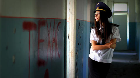 cadet girl posing for the camera Stock Video Footage