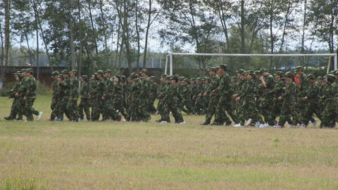 Military training of Chinese students 02 Stock Video Footage
