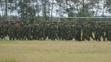 Military Training Of Chinese Students 02 stock footage