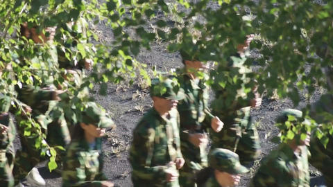 Military training of Chinese students 04 Stock Video Footage