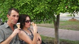 Happy Friends Eating Ice Cream stock footage