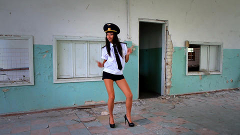 Beautiful girl posing for the camera in clothing cadet. 11 Stock Video Footage