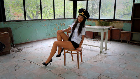 Beautiful girl posing for the camera in clothing cadet. 9 Stock Video Footage