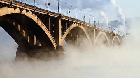 Bridge mist Stock Video Footage