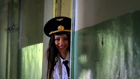 Beautiful girl posing for the camera in clothing cadet. 5 Stock Video Footage