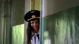 Beautiful girl posing for the camera in clothing cadet. 5 Footage