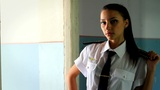 Beautiful Girl Posing For The Camera In Clothing Cadet. 1 stock footage