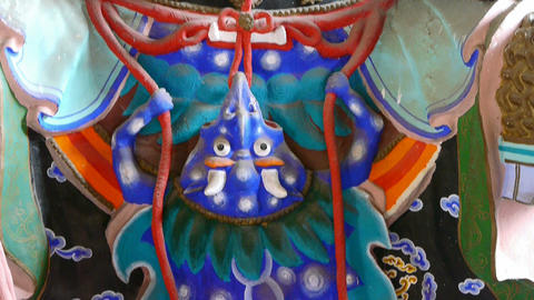 Chinese immortals Buddhist Vajra sculpture holding a... Stock Video Footage