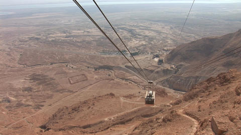cableway on Mount Masada 1 Stock Video Footage
