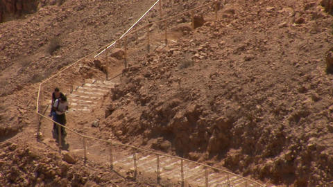Climbing the stairs to the fortress Masada 2 Stock Video Footage