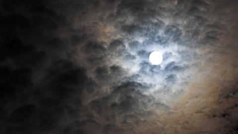 full moon and moving clouds Stock Video Footage