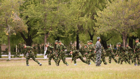 Military Training Of Chinese Students 07 Stock Video Footage