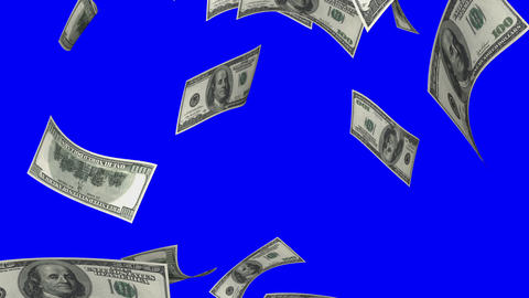 Falling Dollars (Loop on Blue Screen) Stock Video Footage