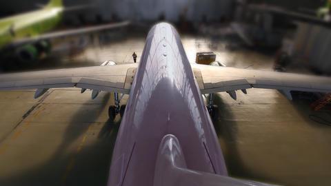 airplane hangar start end loop Stock Video Footage