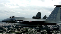 F-15 Eagle fighter jets close formation Footage