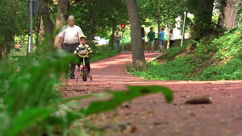 Children and grandparents walking on a sloping driveway enjoying the beautiful s Footage